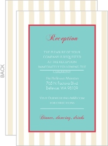 Floral Tan Stripes Wedding  Enclosure Card