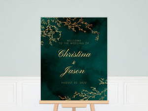 Gorgeous Emerald Watercolor Wedding Poster