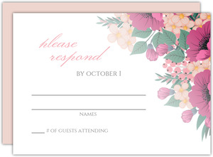 Blush Pink Anemones Quinceanera Response Card
