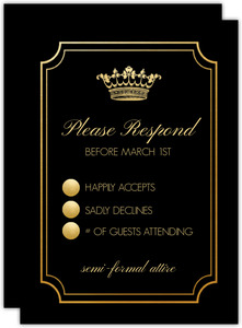 Black & Gold Crown Quinceanera Response Card