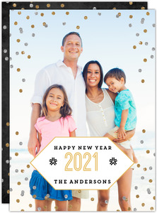 Geometric Faux Glitter New Years Photo Card