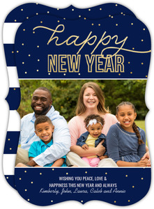 Bright Faux Gold Foil Dot New Years Photo Card