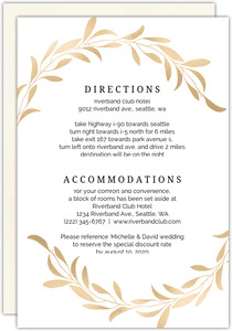 Faux Gold Laurel Wedding Reception Card