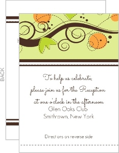 Green Brown And Orange Autumn Themed Reception Card