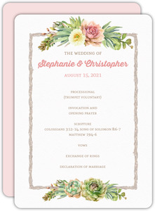 Whimsical Succulents Wedding Program