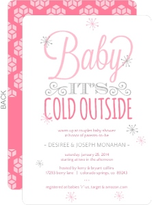 Whimsical Pink Winter Typographic Baby Shower Invitation