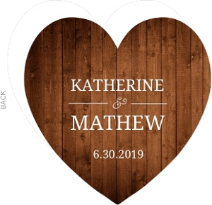Wooden Picture Perfect Love  Heart Wedding Invite