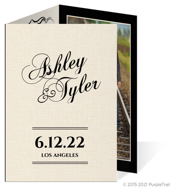Black Vintage Trifold Wedding Invitation Vintage Wedding Invitations