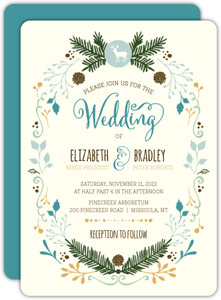 Whimsical Woodland Foliage Wedding Invitation