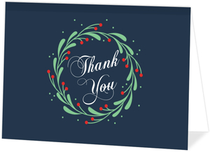 Whimsical Mistletoe Wreath Thank You Card