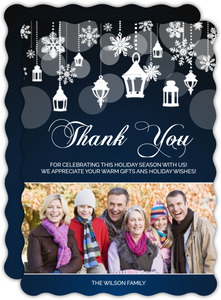 Snowflake Lantern Holiday Thank You Card