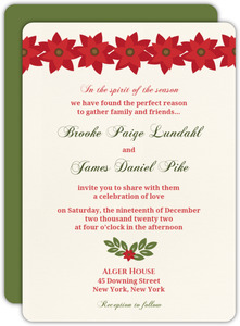 Red and Green Watercolor Floral  Wedding Invite