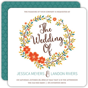 Autumn Foliage Wreath Wedding Invitation