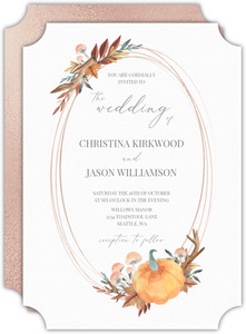 Faux Rose Gold Pumpkin Frame Wedding Invitation