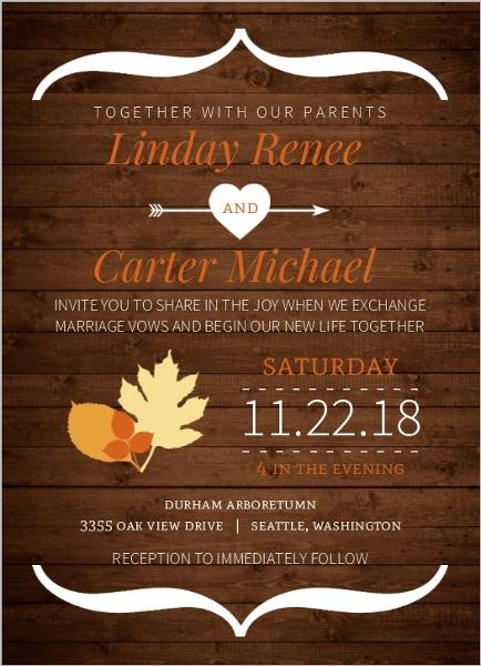 Rustic Fall Orange And Brown Wedding Invitation Rustic