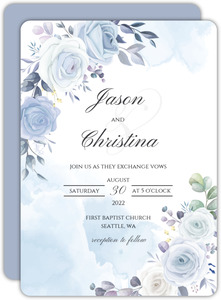 Periwinkle Floral Wedding Invitation