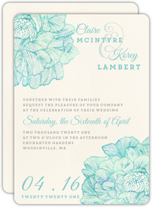 Romantic Watercolor Florals Wedding Invitation