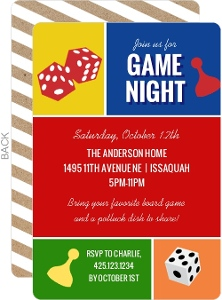 Colorblock Game Night Invitation