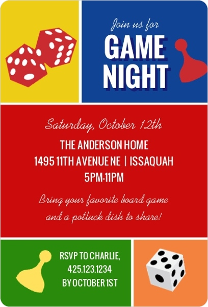 Colorblock Game Night Invitation Game Night Invitations