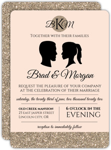 Glamorous Silhouette Wedding Invitation