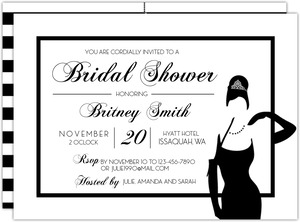 Striped White Tiffany Blue Bridal Shower Invitaion