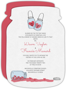Romantic and Rustic Love Jar Wedding Invitation