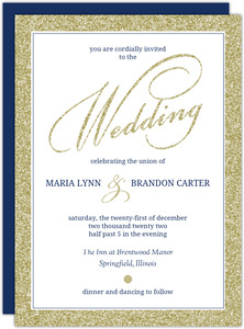 Navy and Gold Glitter Formal Wedding Invitation