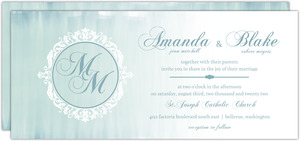 Dusty Blue Ombre Monogram  Wedding Invitation