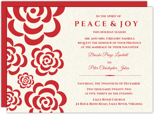 Red Flowers Winter Holiday  Wedding Invitation