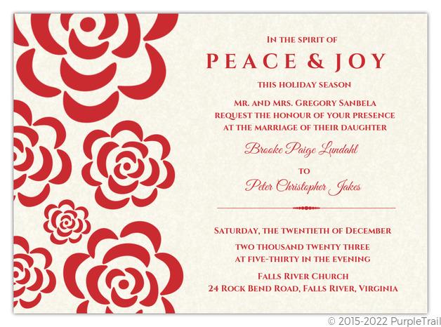 Red Flowers Winter Holiday Wedding Invitation