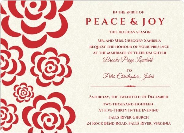 Winter Wedding Invitation Wording: Red Flowers Winter Holiday Wedding Invitation