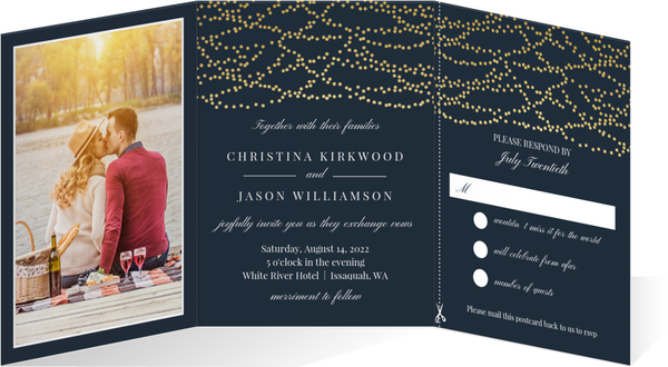 Gold Dangling Lights Trifold Wedding Invitation Tri Fold Wedding