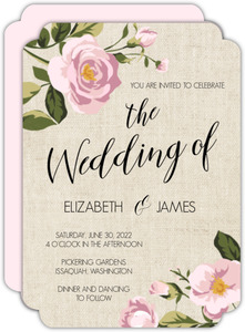 Vintage Burlap Floral Wedding Invitation