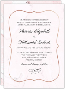 Blush Marble And Faux Rose Gold Wedding Invitation