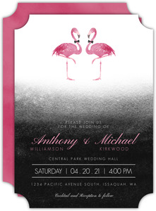 Pink Flamingo Watercolor Wedding Invitation