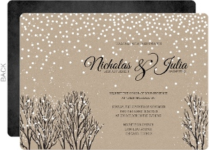 rustic krafty winter wedding invitation