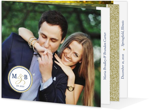 Navy and Gold Glitter Formal Booklet Wedding Invitation