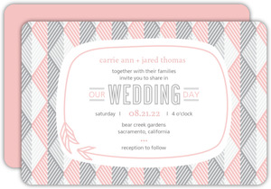 Pink and Gray Geometric Arrows Wedding Invitation