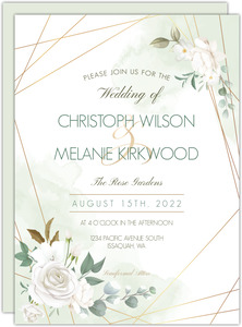 Floral White Garden Wedding Invitation