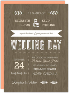 Wood Grain Rustic  Wedding Invitation