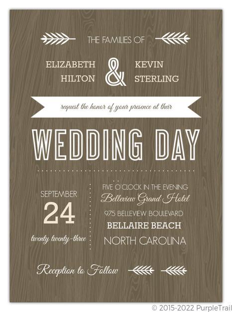Wood Grain Rustic Wedding Invitation