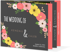 Whimsical Floral Pink and Gray Wedding Invitation