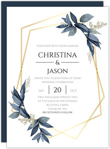 Geometric Frame Navy Leaves Wedding Invitation