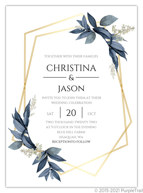 geometric frame navy leaves wedding invitation wedding invitations geometric frame navy leaves wedding invitation