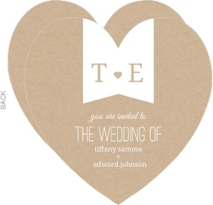 Kraft Heart  Wedding Invitation
