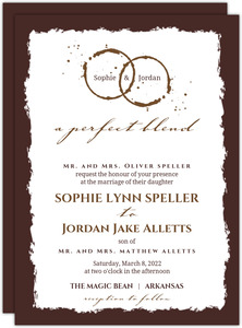 Brown Coffee Perfect Blend  Wedding Invite