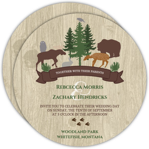 Rustic Woodland Animals Wedding Invitation