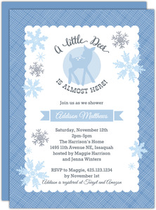 Blue Deer Snowflake Baby Shower Invitation
