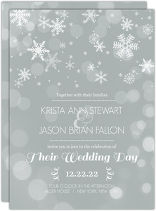 Winter Gray and White Snowflakes Wedding Invitation