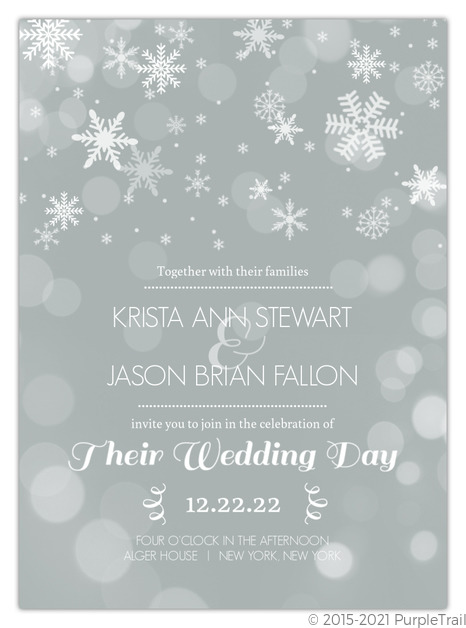 Christmas Wedding Invitations.Winter Gray And White Snowflakes Wedding Invitation